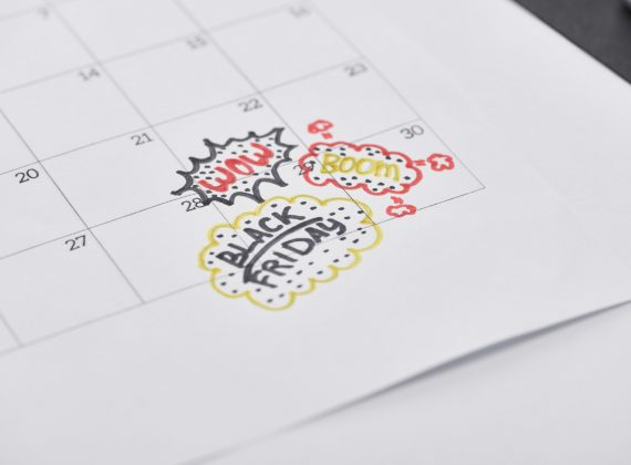 Calendar With Lettering Black Friday, Wow, Boom